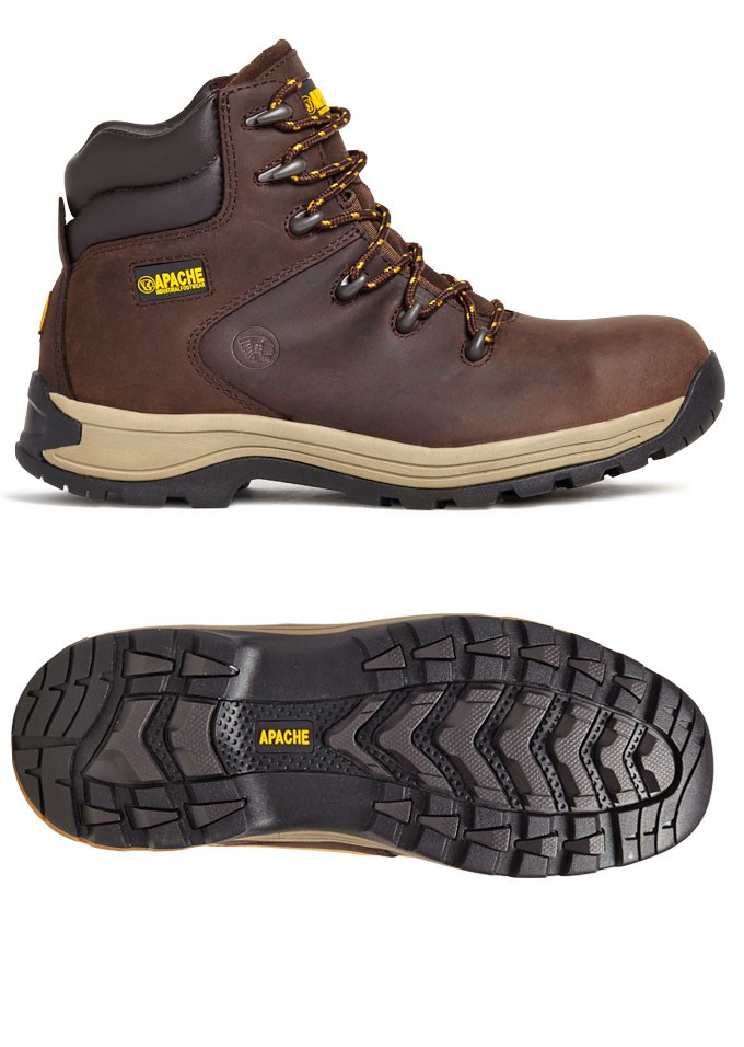 Apache Nu-buck Safety Hiker Workboots Brown