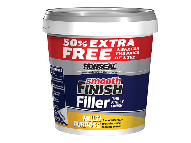 Ronseal Smooth Finish Multi Purpose Interior Wall Filler Ready Mixed 1.2kg +50%