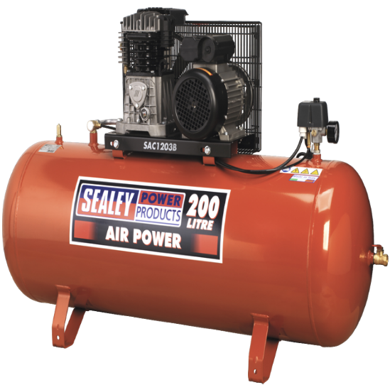 Sealey Compressor 200ltr Belt Drive 3hp with Cast Cylinders