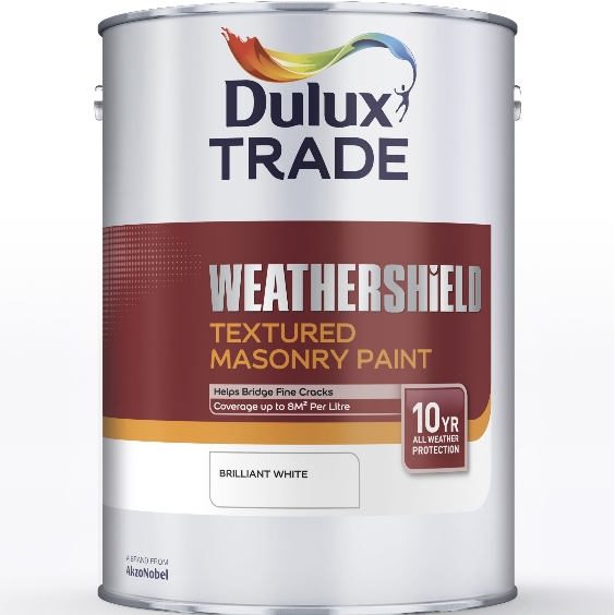 Dulux Trade Weathershield Textured Masonry Pure Brilliant White 5L