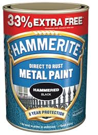 Hammerite Direct To Rust Metal Paint Hammered Finish 33% Free 1L
