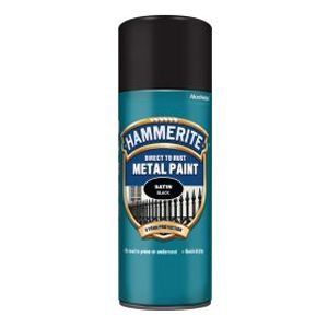 Hammerite Direct To Rust Metal Paint Satin Black Aerosol 400ml