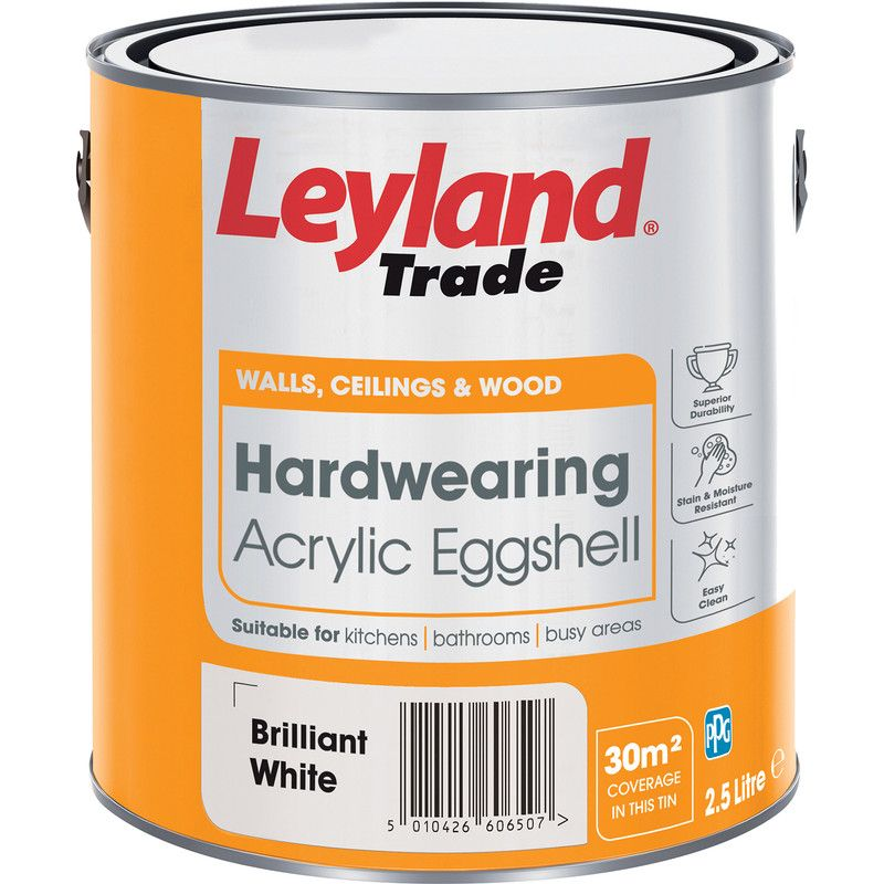 Leyland Trade Hardwearing Acrylic Eggshell Paint Brilliant White