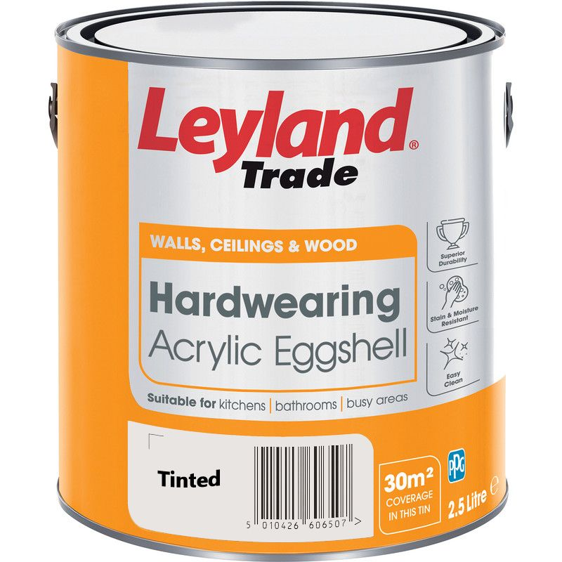 Leyland Trade Hardwearing Acrylic Eggshell Paint Custom Mixed Colours