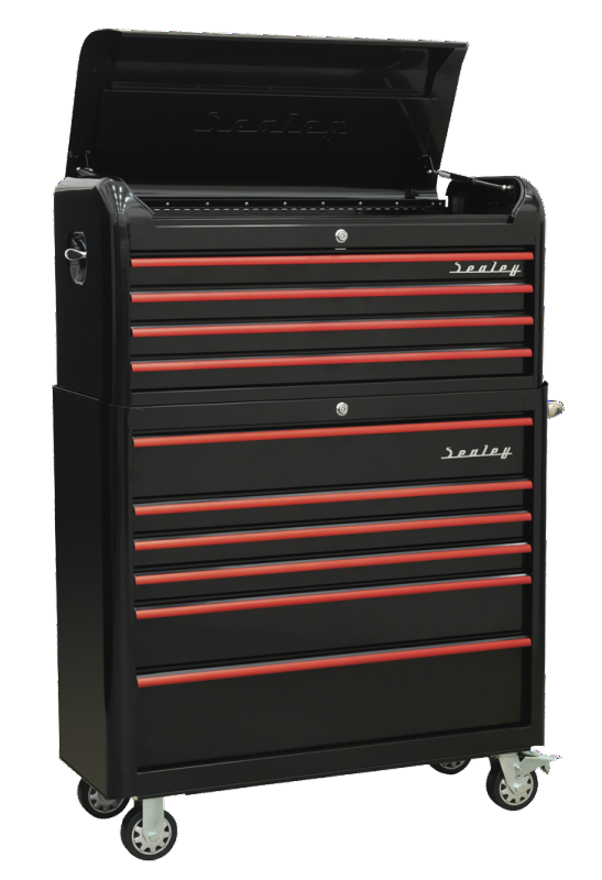 Sealey Retro 2 Piece Tool Chest 10 Drawer Black With Red