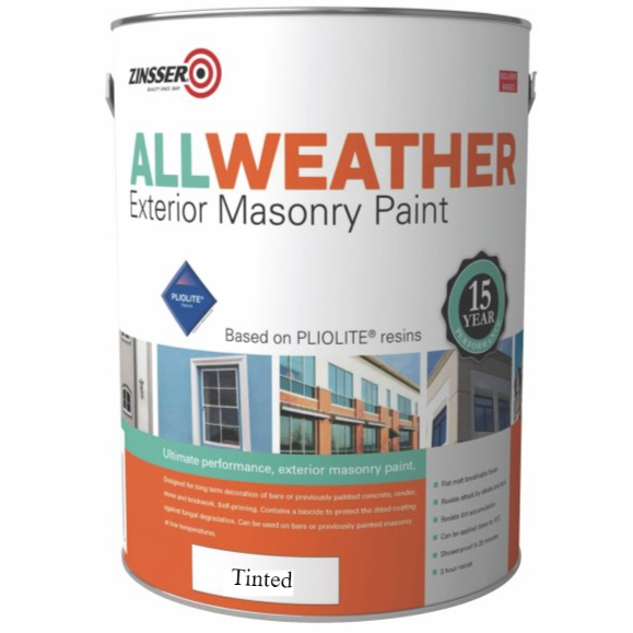 Zinsser AllWeather Exterior Masonry Paint Custom Mixed Colours 5L