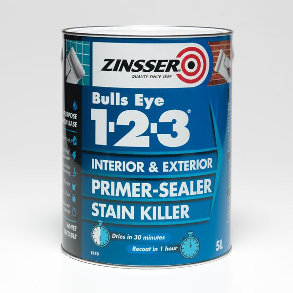 Zinsser Bulls Eye 1-2-3 Water-Based Primer-Sealer - Stain Killer Standard Colours